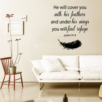 Family Wall Decal Quote He Will Cover You With His Feathers Bible Verses Mural Psalm 91 Vinyl Stickers Bedroom Decor Living Room Design KI4