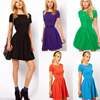 Women Summer Pleated Cotton Slim Short Sleeve Fashion Skater Party Dress 5 Color