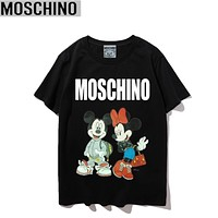 Moschino Summer New Fashion Letter Mouse Print Women Men Top T-Shirt Black