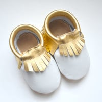 White with Gold Moccasins, White Moccasins, Metallic Gold Moccasins, Gold, Baby Moccs, Baby/Toddler Shoes, Genuine Leather