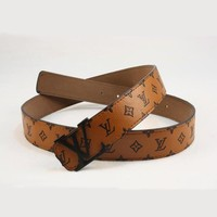 LV Men Woman Fashion Smooth Buckle Belt Leather Belt-63