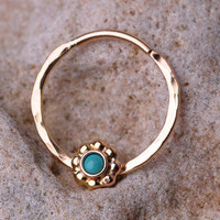 SEPTUM RING / EAR /Cartilage/nose ring 14 K Gold filled with 2mm genuine Turquoise stone. Handcrafted