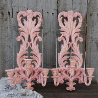 Candle Sconces, Shabby Chic, Triple Sconces, Pink, Gold, Syroco, Baroque, Hand Painted, Vintage, Taper Candle Holder, Ornate, Nursery Decor