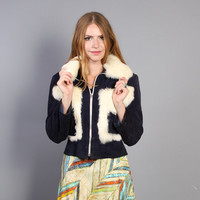70s Rabbit FUR & SUEDE JACKET / Cropped Blue Leather Glam Coat, xs