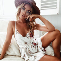 Print V-neck Spaghetti Strap Women's Fashion One Piece Dress [11405183951]