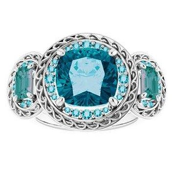 A Handmade Natural 10K White Gold London Blue Topaz Alexandrite Three Stone Journey Engagement Ring