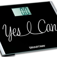 """SmartWay Precision XL Digital Bathroom Scale YES I CAN! Motivation Series w/ Extra Wide 440lb Step-On Platform """"2014 Limited Edition"""""""