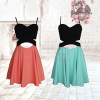 Sexy Spaghetti Straps Two Colors Patchwork Style Short Homecoming Dress/Party Dress/Prom Dress/Cocktail Dress/X165