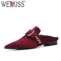 WETKISS Size 34-39 Kid Suede Nubuck Leather Fashion Mules Superstar Shoes Woman Low Heel Pumps Pointed toe Metal Summer Footwear