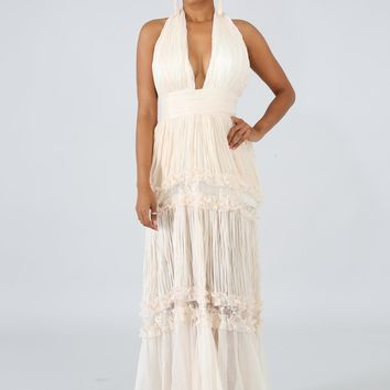 Luxxel Ivory Pleated Maxi Dress