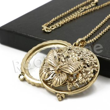Antique Butterfly Effect 5X Magnifying Glass Locket Pendant Necklace