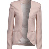 Pink Collarless Open Front Asymmetric Cropped Blazer