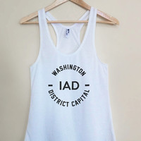 IAD - Washington DC District Capital Tank Top - Light Weight White Racerback Womens Tank Top - Sizes - Small Medium Large