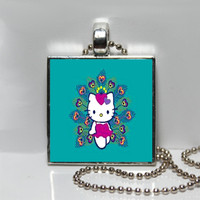 Retro Hello Kitty Peacock Square Tile Pendant Necklace or Keychain SALE