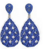 Silvertone with Blue Iced Out Basket Weaved Teardrop Shaped 3.25 Inch Dangle Clip on Earrings