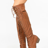 Tan Faux Leather Over the Knee Military Lace Up Boot
