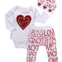 3PCS Love Baby Girls Set Heart Print Baby Clothes Long Sleeve Romper Baby Tops Full Pants Newborn Clothing Baby Outfits