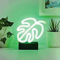 """Merkury Innovations 7"""" inch LED Neon Green Monstera Leaf Night Light, Mood Light with Pedestal,Battery Operated Wall Art,Bedroom Decorations,Lamp,Home Accessories,Party and Holiday Decor: Neon Green"""