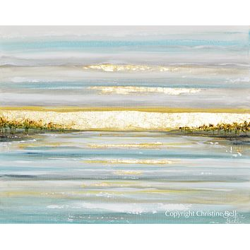 """""""Morning's First Light"""" GICLEE PRINT Art Coastal Abstract Painting Seascape Sunrise Ocean Lake Gold Leaf"""