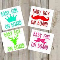 Baby On Board Decal - Baby Girl On Board - Baby Boy - Crown - Bow - Mustache - Deer - Any Color - Perfect for Vehicles - Vinyl - Sticker