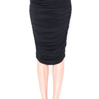 Ruched High Waisted Knee Length Pencil Skirt