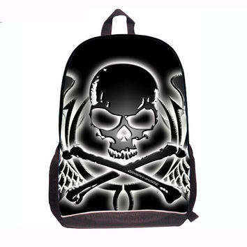 Fashion Mochila Polyester Black skull backpacks bags student school bags women's travel bags Computer bags Schoolbag with fire