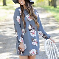 *  Jen Floral Dress : Grey