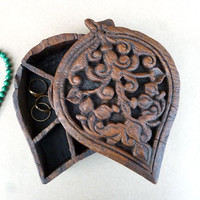 Decorative Wooden Box, Carved Wooden Box, Trinket Box, Jewellery Box, Carved Wood, Hand Carved Wood, Storage Box, Indian Carving