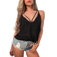 Women Sexy Tank Tops Sleveless Bandage Strappy Adjustable Vest Top Casual Tank Tops T-Shirt Black Camisole #23 BL
