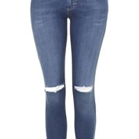 PETITE MOTO Ripped Leigh Jeans - Topshop