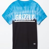 Grizzly Fire Tie Dye T-Shirt - Mens Tee - Blue - Large