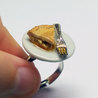 Apple Pie Slice Adjustable Silver Ring