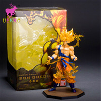 UEKKO 1pcs Anime Dragon Ball Z Super Saiyan goku fighting 17CM PVC Action Figure Doll Model Funko Pop Collection Kid Toy Gift