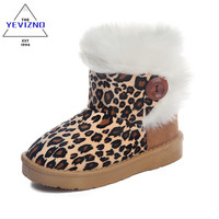 YEVIZNO 2016 kids winter shoes Leopard  Children Snow Boots For Girls Boys Warm Boots Shoes Casual Plush Child Baby Toddler Shoe