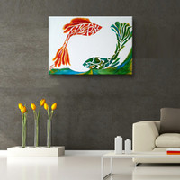 Original Oil Painting Koi Fish painting Fish Art abstract painting on canvas Feng shui painting good luck painting green, red, orange
