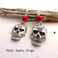 Red coral stone and red Sugar skull earrings.