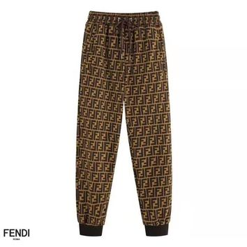 Free shipping-Fendi full printed double F subtitle print casual pants