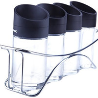 Salt and Pepper Shakers - Spice Containers Bottles Jars Vials with Horizontal Stand-3oz- 5 Piece Set for Herb Seasoning Spice Salt Pepper Storage