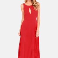 Accordion Player Backless Red Maxi Dress
