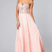 Long Strapless Beaded Prom Dress by Alyce Paris
