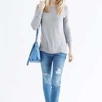 Tops & Blouses | Grey Woven Back Top | Oasis