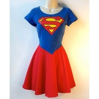 Superman Dress Supergirl Dress  Rockabilly Pin Up Girl Dress Superhero Halloween Costume [9305618375]