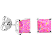 6mm Pink Square Sterling Silver Synthetic Opal Stud Earrings | Body Candy Body Jewelry