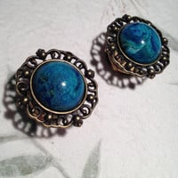 """Vintage Bronze Crest Plugs with Green Blue Italian Marble 10mm (3/8"""")(00g) 12mm (1/2"""") 14mm (9/16"""") 16mm (5/8"""") 18mm (11/16"""")(BSD103)"""