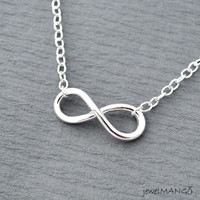 Shiny silver infinity necklace, everlasting love, enternity, gift BFF, Toggle Clasps, large infinity, everyday Necklace, infinity jewelry