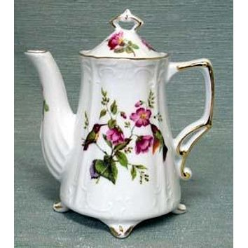 Antique Footed Hummingbird Porcelain Teapot