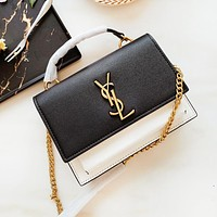 YSL New fashion leather solid color contrast color shoulder bag women Black White