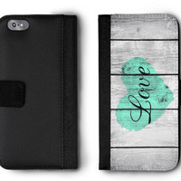 Mint Rustic Love Phone Wallet Case for Women - Womens Wallet iPhone 7 Plus Case - iPhone 6 Wallet Phone Case - iPhone 6s Wallet Case