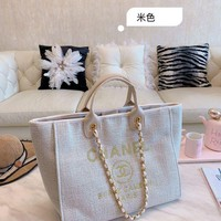 854 Fashion Canvas Chain Classic Pharrell Handle Tote Casual Crossbody Shopper Bag 32-27-1