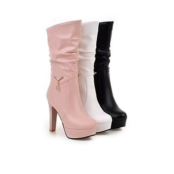 Pu Leather High Heel Mid Calf Boots 7022